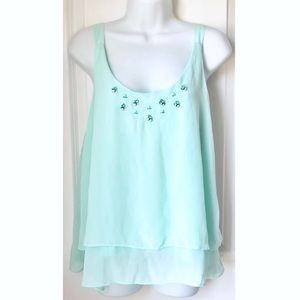 NY&CO Mint Green Embellished Chiffon Tank Top